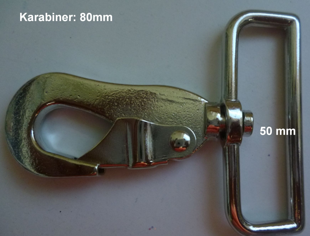 Karabiner 50 mm-es bújtatóval,  350 Ft/db ( 10 db)