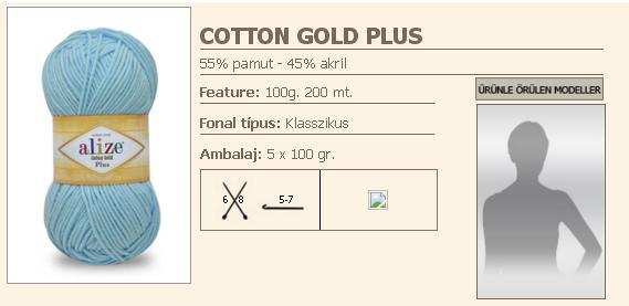 Cotton Gold Plus fonal,100g/200m, 55%pamut,45%Akril (1020Ft/gombolyag) 5x100g