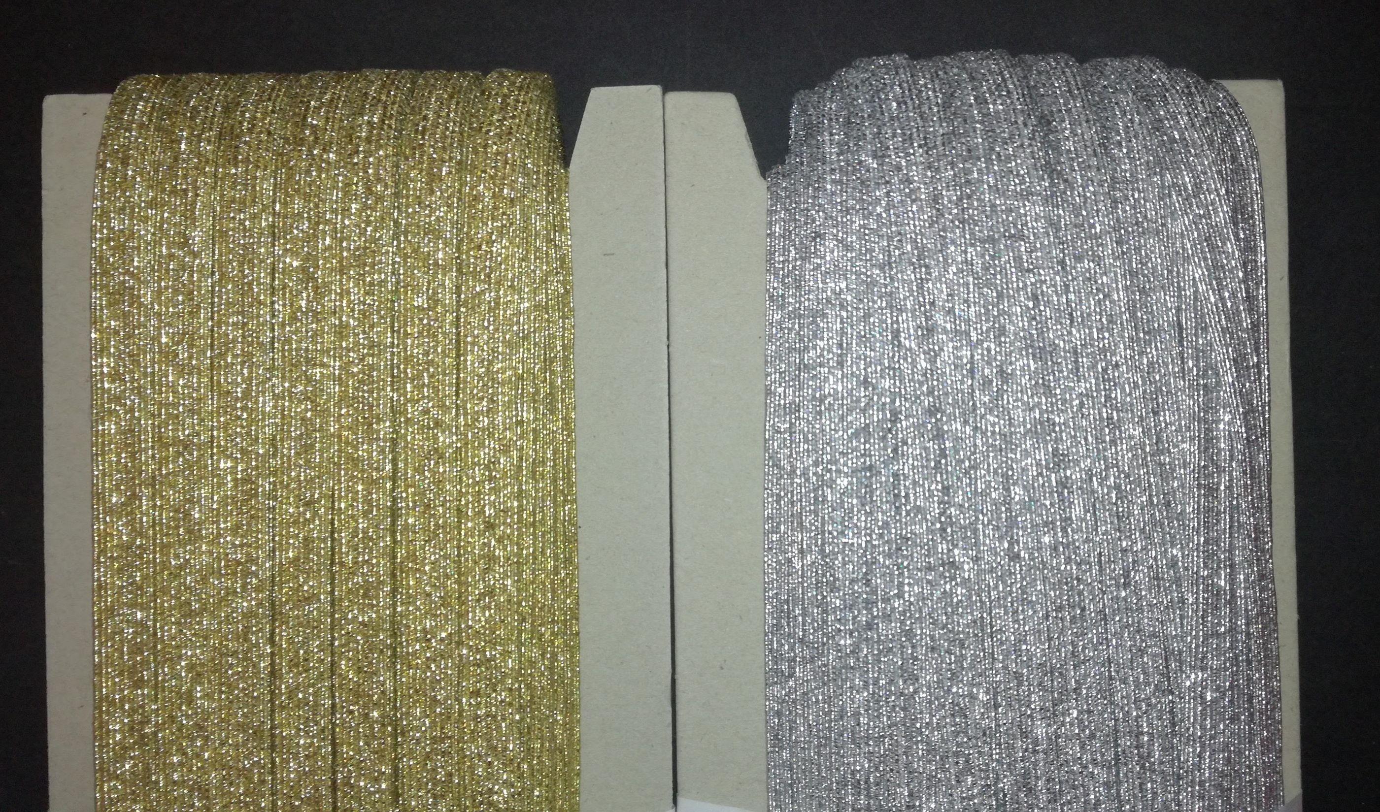 Gumipertli 9 mm arany vagy ezüst lurex 26200b12ca
