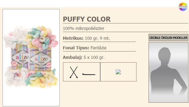 Puffy Color fonal 100gr./9 m, mikropoliészter 980Ft/100gr. (9800Ft/kg)