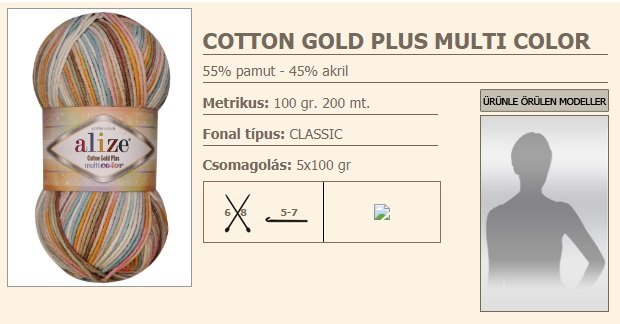 Cotton Gold Plus Multi Color fonal,100g/200m, 55%pamut,45%Akril (1100Ft/gomb.)
