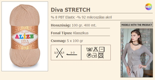 Diva Stretch 100 gr./400 m 1150 Ft/100 gr. (11500 Ft/kg.)